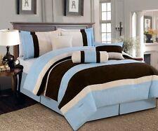 7 PC Beautiful BLUE BROWN BEIGE Micro Suede Comforter Set   QUEEN SIZE