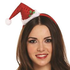 Ladies Christmas Fancy Dress Mini Santa Claus Hat on Band Red/White New h