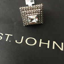 NEW ST JOHN KNIT SZ 8 WOMENS DESIGNER JEWELRY SILVER RING CRYSTAL LARGE CENTER