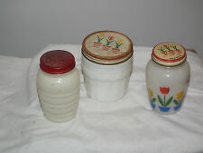 VINTAGE FIRE KING SHAKERS & GREASE JAR TULIP MILK GLASS