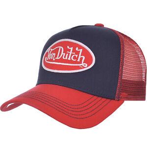 Von Dutch Mens Graphic Logo Adjustable Snapback Trucker Cap Hat - Navy/Red