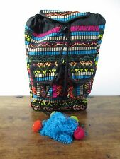 PAPERCHASE BRIGHT MULTICOLOURED FABRIC EMBROIDERED TASSELLED BACKPACK RUCKSACK