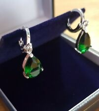 White gold finish Teardrop green emerald droplet earrings