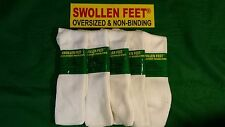 Diabetic Swollen Feet Oversize Non-Binding Ladies' Cotton Socks 5 pr White 9-11