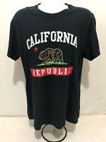 California Republic Black Short Sleeve T-Shirt Men's Large Black Size L