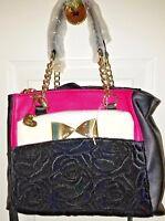 BETSEY JOHNSON CROSSBODY Fuchsia Black  Satchel Handbag Shoulder POUCH Purse