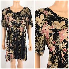 Vintage 90s Starina Grunge Boho Floral Tunic Dress Flowing Mini Midi Black M
