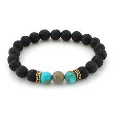 Blue Imperial Bead & Black Lava Stone Bracelet
