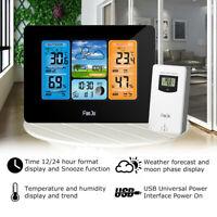 Digital LCD Indoor Outdoor Weather Station Clock Calendar Thermometer Hygrometer