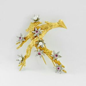 Blossoming Tree Brooch Pin 18K Gold Genuine Cabochon Rubies & Round Pearls 4mm
