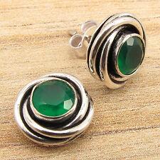 Stud Earrings ! 925 Silver Plated Cut Round Green Onyx Gemstone Lightweight Gift