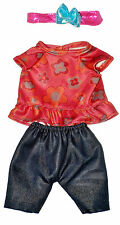 """Girl Jeans, Top, Headband Doll Outfit For 10"""" Lots To Love Baby Doll"""