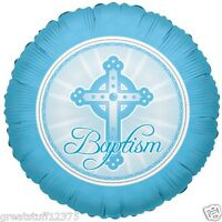 """Balloon 18"""" Baptism Blue Cross Round Mylar Foil Balloons Party Decorations Gifts"""