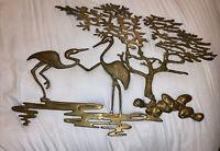 VTG Brass Asian Bonsai Tree Bird Heron Cranes Hollywood Regency Wall Decor Large