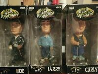 lot 3 bobble heads bobbleheads the three stooges head knockers moe larry curly