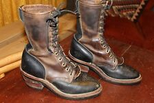 TALL VINTAGE CHIPPEWA 2-TONE LEATHER PACKER WORK BOOTS 6 D