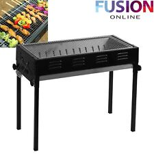 LARGE BBQ STAND BARBECUE FLAT PORTABLE CAMPING OUTDOOR GARDEN ADJUSTABLE COOKING
