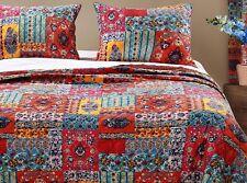 2pc Indie Twin Quilt Set Bohemian Motif Floral Vine Boho Hippie Beatnik Red/Blue