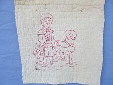 Antique Redwork Victorian era 1 Victorian Girl an Dog Embroidered Quilt Block