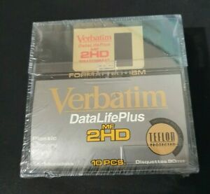"Verbatim DataLifePlus MF 2HD NEW Sealed Floppy Disks Teflon Protected 3.5"" *RARE"