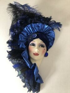 """Authentic """"CLAY ART"""" Ceramic Mask, Beautiful Blue/Black Lady Made In USA"""