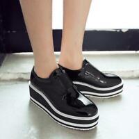 Womens Wedge Heel Platform Slip On Loafer Square toe Sneakers Shoes