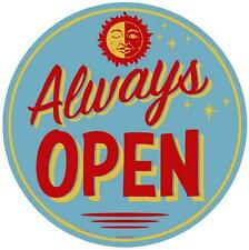 Vintage Retro Always Open Metal Sign Business Restaurant Diner Kitchen RPC259