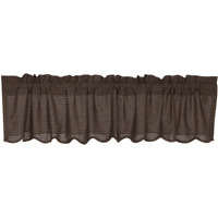KETTLE GROVE Plaid Valance Scalloped Window Curtain Primitive Back/Tan Lined 72""