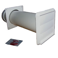 "Tumble Dryer Vent kit (White gravity outlet) - 100mm/4"" round  through wall"