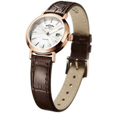 0b34eb4e733e Rotary Swiss Womens Quartz Watch - White Analogue Display   Brown Leather  Strap