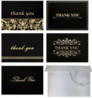 100 Folded Blank Cards - White Envelopes Thank You/Greeting Cards, 5 Designs 4x6
