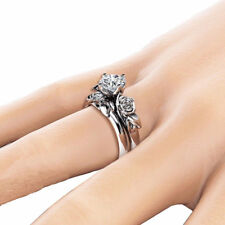 Women Rose Flower Ring Silver Plated Rhinestone Finger Ring Charm Jewelry Gift