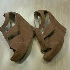 Women's Brown faux swede wedge heels