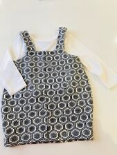 Baby Girls RIVER ISLAND Pinafore Dress & Top 3-6 Months Long Sleeve Blouse Set