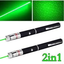 2Pc 900Miles Green Laser Pointer Pen Ultra Strong 532nm Lazer Beam+Star Cap 1mW