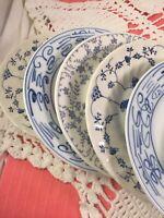 Set Of 6 Vintage China Mismatched Blue & White Salad Plates  #304