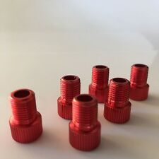 6 Presta to Schrader Alloy Valve Adapters...Red...Road...MTB...BMX...Bike
