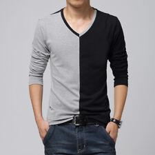 Fashion Men Long Sleeve T Shirt Mens V Neck Casual T-Shirts Tee Tops Men Tshirt