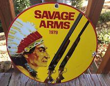 VINTAGE PORCELAIN SAVAGE ARMS 1979 ADVERTISING  SIGN