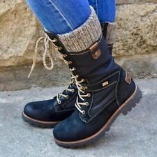 Winter Women Lace Up Riding Mid Calf Boot Combat Round Toe Bootie Knit Flat Shoe