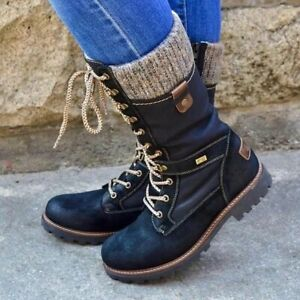 US 8 Winter Women Lace Up Riding Mid Calf Boot Combat Round Toe Bootie Knit Flat