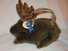 "Jaag Plush Moose Purse Brown Fur Zipper Handles NWT NEW 11"""