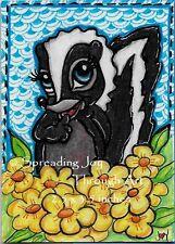 ACEO oRiGiNaL Drawing Joy Art Cute Skunk Yellow Flower Bed Disney Forest Animal