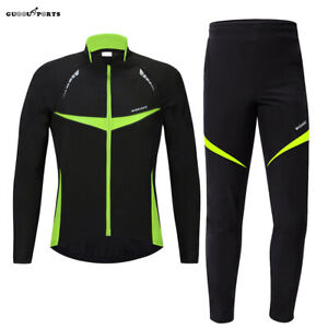 Mens Cycling Jacket Set Soft Shell Winter Thermal Fleece Bike Coat Long Pants