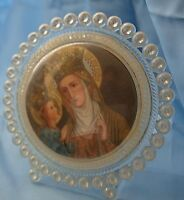 """VINTAGE Jesus & Mary Print  ITALY CLEAR PLASTIC Round 5"""" TABLE TOP FRAME"""