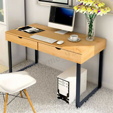 Wooden Vintage Computer Desk Retro Home Office Writing Industrial Table 2  Drawer