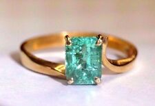 18K Yellow Gold .75 CTW Lustrous Colombian Emerald Ring Size 7.25
