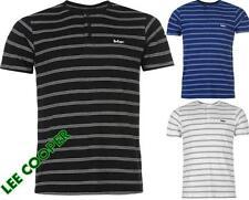 Lee Cooper Yarn Dye Henley Tshirt Mens Short Sleeve Casual Top ~All Sizes M- XXL