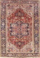 100% Vegetable Dye Antique Geometric 7x10 Wool Oriental Rug