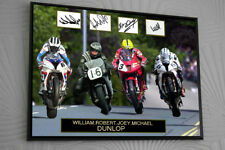 """Joey Robert William Michael Dunlop Unique Framed Canvas Signed """"Great Gift"""""""